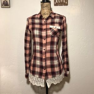 Justify plaid blouse with lace trim, size small